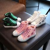 Стилни детски кецове за момичета в три цвята с лъскава декорация