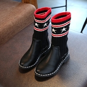 Модерни детски ботуши за момичета в черен цвят с устойчива подметка