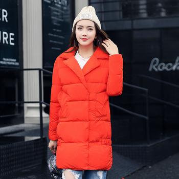 Μακρύ χειμωνιάτικο μπουφάν σε απλό σχέδιο και σε διάφορα χρώματα