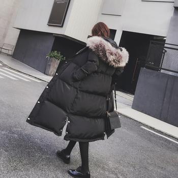 Много стилно дълго зимно яке за дамите с качулка с пух