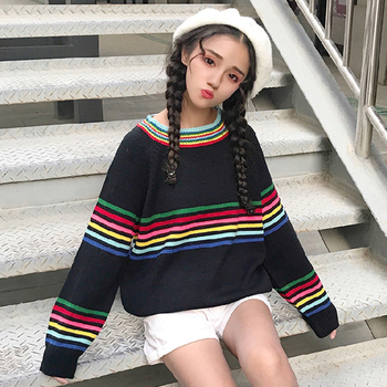 Сладък дамски пуловер с цветни ленти и О-образна яка