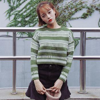 Плетен скъсан пуловер за дамите