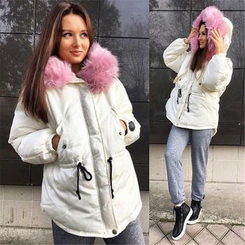 Καθημερινό ζεστό γυναικείο χειμωνιάτικο μπουφάν με κουκούλα και υψηλές, πολύ άνετες τσέπες
