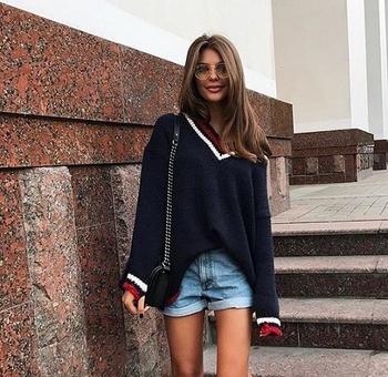Дамски long пуловер с V-образно деколте