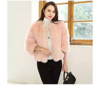 Дамско палто с О-образна яка и стилен мек пух