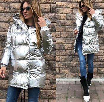 Γυναικείο ζεστό μπουφάν ι μακρύσε ασημί χρώμα