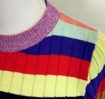 Ежедневен дамски пуловер с О-образна яка в преливащи цветове