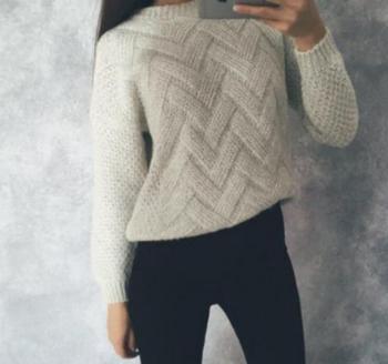Дамски пуловер в ретро стил с О-образна яка ,6 цвята