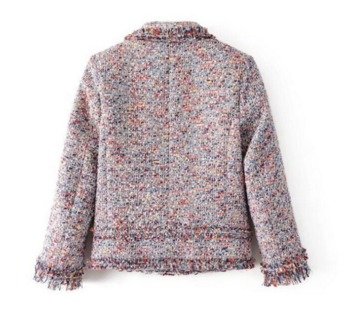 Ежедневно стилно дамско яке тип сако в преливащи цветове