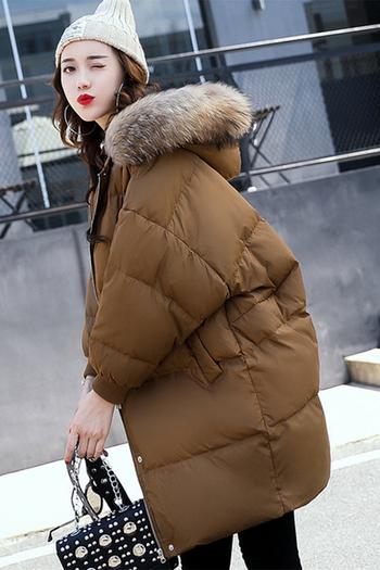 Зимно дамско много дебело яке тип шуба с пухена яка в 5 различни модела