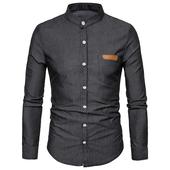 Спортно-елегантна мъжка риза с О-образна попска яка , 4 цвята