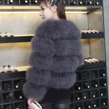 Бохемско дамско палто от много мек пух и в три рацзветки