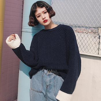 Плетен дамски пуловер в червен и черен цвят