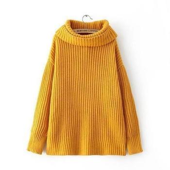 Дамски много топъл пуловер с хлабава висока яка , много цветове