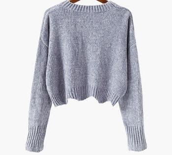 Къс дамски пуловер с О-образна яка, 3 модела