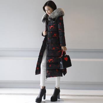 Стилно дълго зимно яке за дамите с качулка с пух