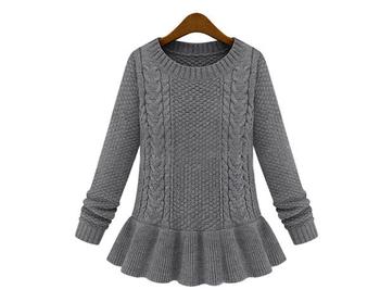 Стилен плетен дамски пуловер в три цвята