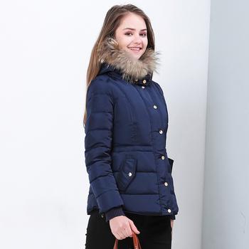 Стилно дамско яке с пух в тъмносин цвят
