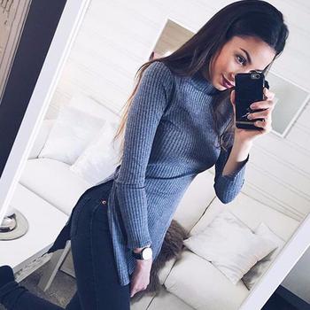 Дълъг Слим пуловер за дамите с поло яка