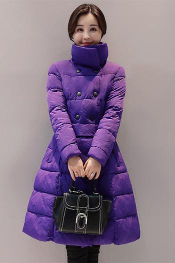 Γυναικέιο μακρύ μπουφάν για το χειμώνα σε τέσσερα χρώματα σε ένα κομμένο μοτίβο
