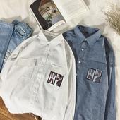 Спортна мъжка риза на райе с джобове и апликация