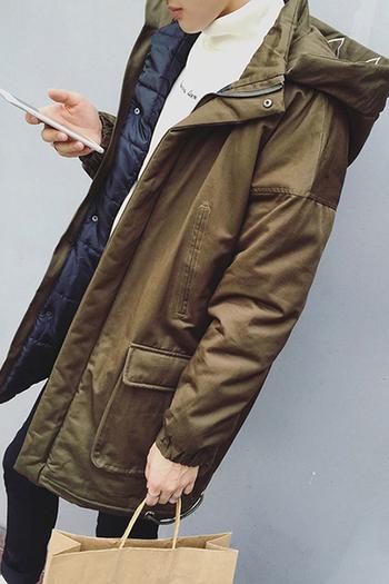 Μακρύ χειμωνιάτικο ανδρικό μπουφάν με κουκούλα σε δύο χρώματα
