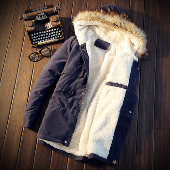 Ανδρικό χειμερινό μπουφάν  με ζεστή μάλλινη επένδυση και αφράτο κολάρο