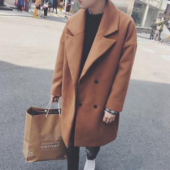 Κομψό μακρύ ανδρικό παλτό σε τρία χρώματα