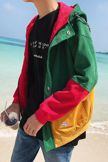Πολύχρωμο ανδρικό μπουφάν με κουκούλα σε δύο χρώματα