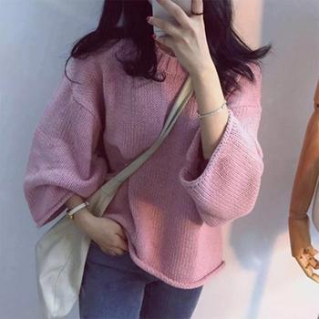 Зимен дамски пуловер в свободен стил и в четири цвята