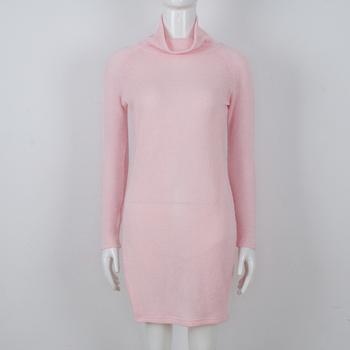 Дълъг плетен дамски пуловер с поло яка в три цвята