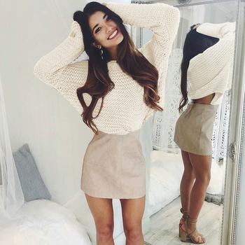 Стилен топъл дамски пуловер в два цвята