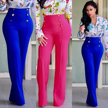 Дамски широки панталони с висока талия