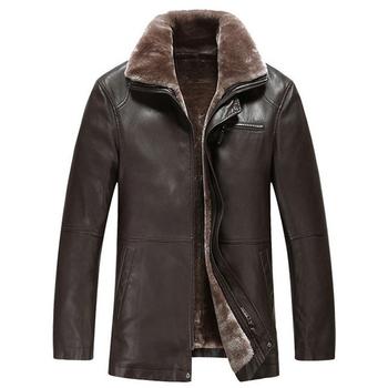 Κομψό, ανδρικό οικολογικό δερμάτινο παλτό με πολύ ζεστή επένδυση από κασμίρ
