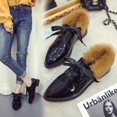 Официални дамски обувки - остри и в два модела - с пух и без пух