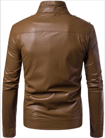 Ανδρικό μπουφάν από τεχνητό δέρμα με ημικυκλικό O-κολάρο