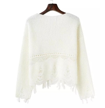 Нестандартен пуловер от вълна с V-образна яка и разръфани краища