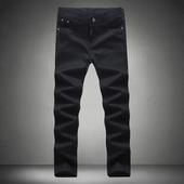 Изчистен модел мъжки slim fit дънки в черен цвят