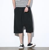 Нестандартни мъжки широки къси панталони в черен цвят