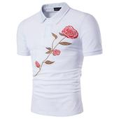 Мъжка риза с поло яка в спортно-елегантен стил + красива бродирана роза
