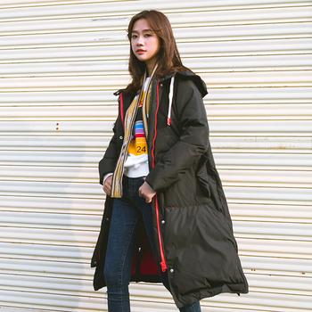 Μακρύ χειμωνιάτικο γυναικέιο μπουφάν  σε δύο χρώματα με κουκούλα