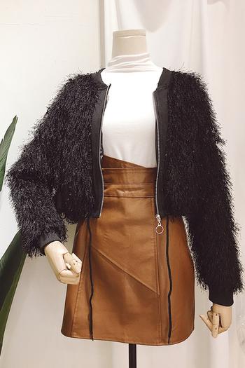 Елегантно късо дамско яке с ресни в четири цвята