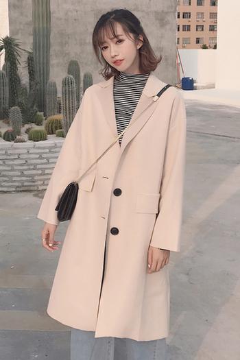 Μακρύ κομψό παλτό με κουμπιά σε δύο χρώματα - Badu.gr Ο κόσμος στα ... a9eaa9915d8