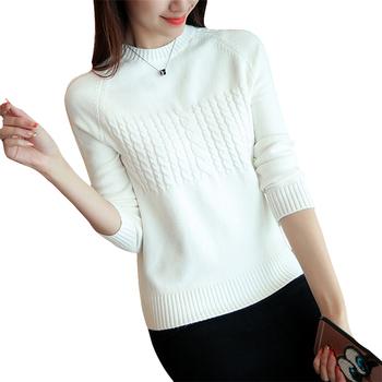 Дамски пуловер с О-образна яка - много цветове