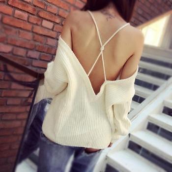 Дамски ежедневен мек пуловер с паднало рамо и гол гръб с кръстосани връзки , 2 модела