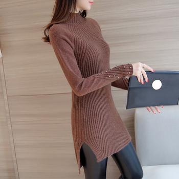 Дамски рипс пуловер в плътен цвят с мъниста - различни цветове