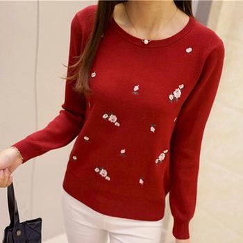 Удобен дамски пуловер с О-образна яка в различни цветове