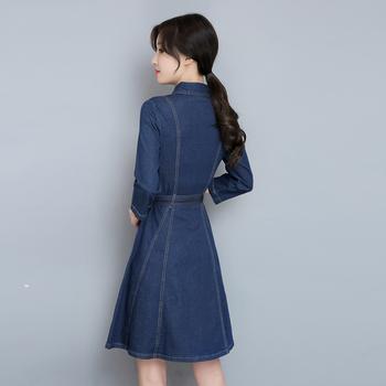 42912fa63447 Γυναικείο τζιν φόρεμα με ένα μικρό μανίκι 3 4 - Badu.gr Ο κόσμος στα ...