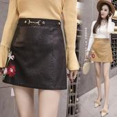 Дамска кожена пола с интересна апликация и коланче в три цвята