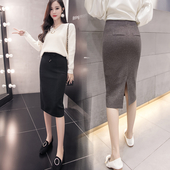 Спортно-елегантна дълга пола с имитация на джобове отзад с цепка в няколко цвята